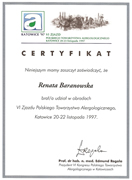 Renata Baranowska - certificates in allergology - polish doctors in Dublin - #1