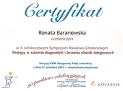 Renata Baranowska - certificates in allergology - polish doctors in Dublin - #15