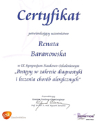 Renata Baranowska - certificates in allergology - polish doctors in Dublin - #29