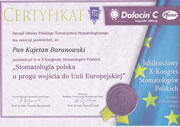 Kajetan Baranowski - certificates in dentistry - polish doctors in Dublin - #12